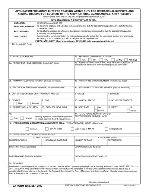 DA Form 1058  Printable Pdf