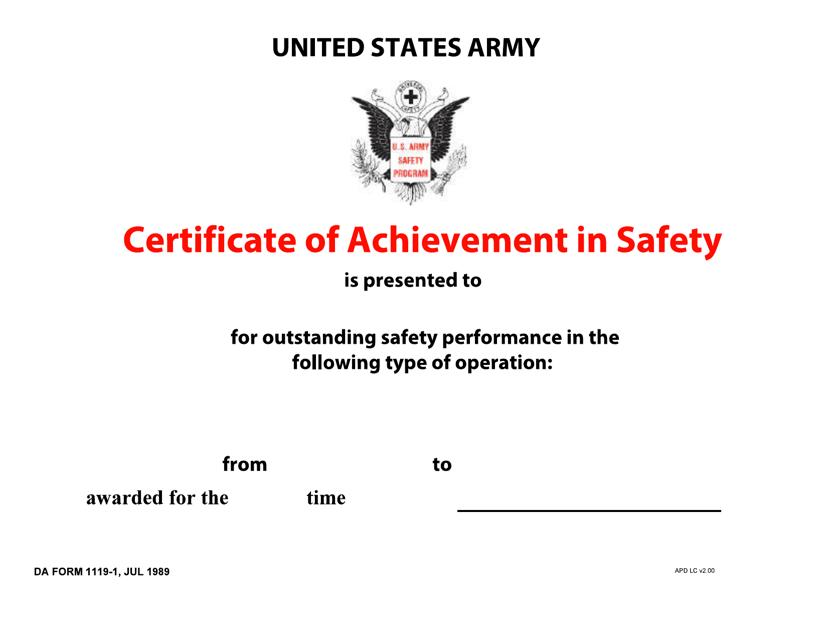 DA Form 1119-1  Printable Pdf