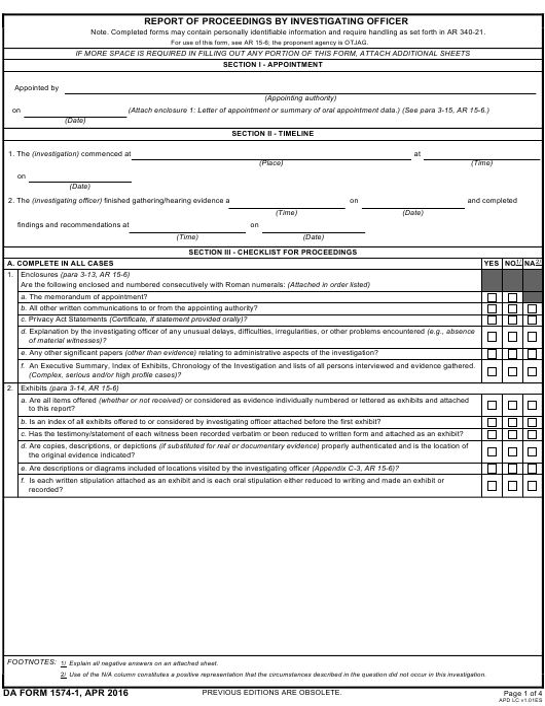 DA Form 1574-1  Printable Pdf