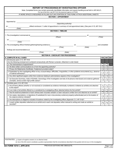 Da Form 1574 1 Download Fillable Pdf Report Of
