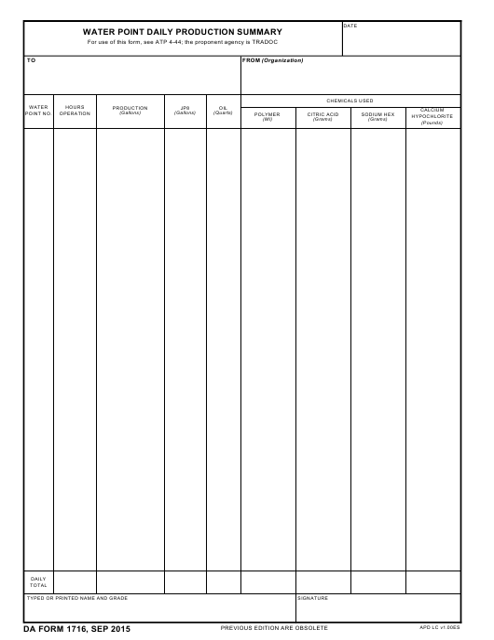 DA Form 1716 Fillable Pdf