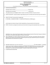 DA Form 2102 Special Provisions B(S) Gas Service