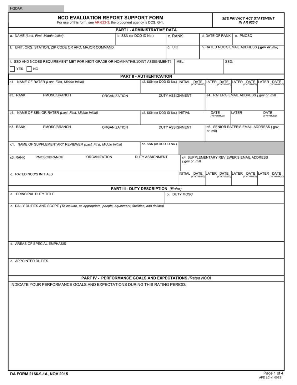DA Form 2166-9-1A  Printable Pdf