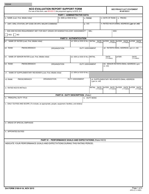 DA Form 2166-9-1A  Fillable Pdf