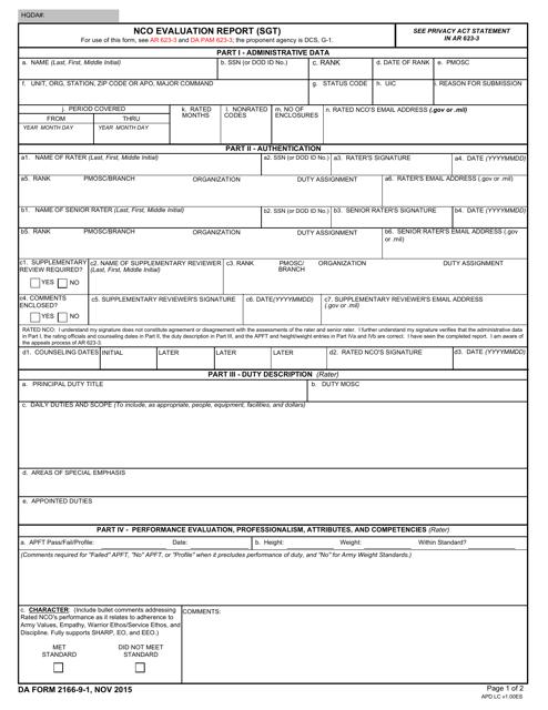 DA Form 2166-9-1 Fillable Pdf