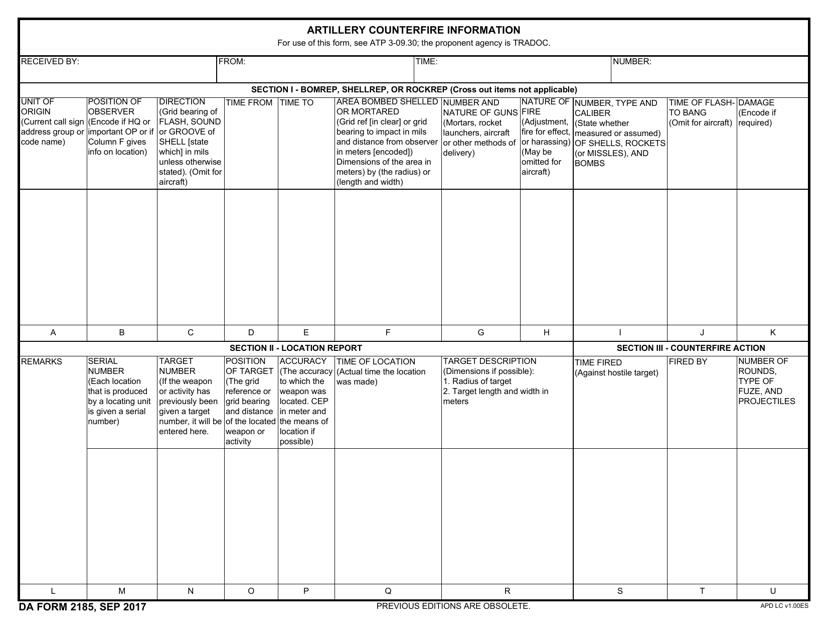 DA Form 2185  Printable Pdf