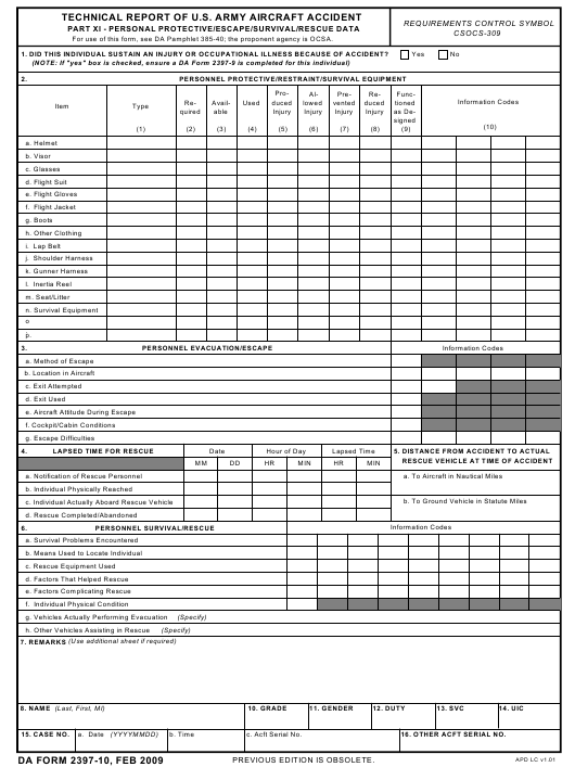 DA Form 2397-10 Fillable Pdf