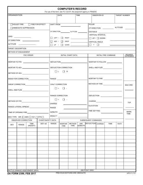 DA Form 2399  Printable Pdf