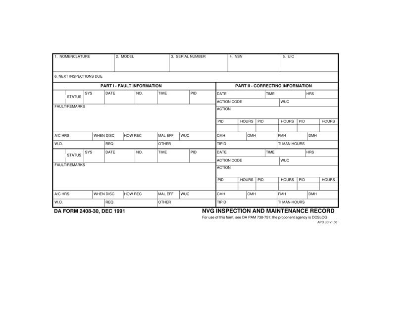 DA Form 2408-30 Fillable Pdf