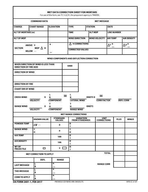 DA Form 2601-1 Printable Pdf