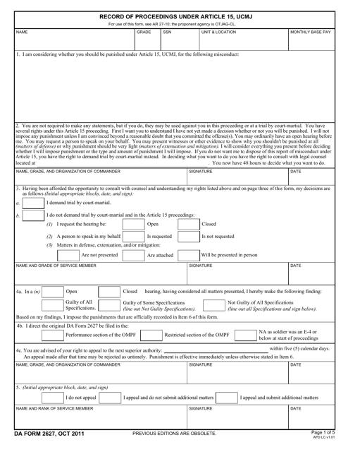 DA Form 2627  Printable Pdf