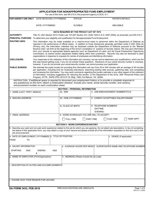 DA Form 3433 Fillable Pdf