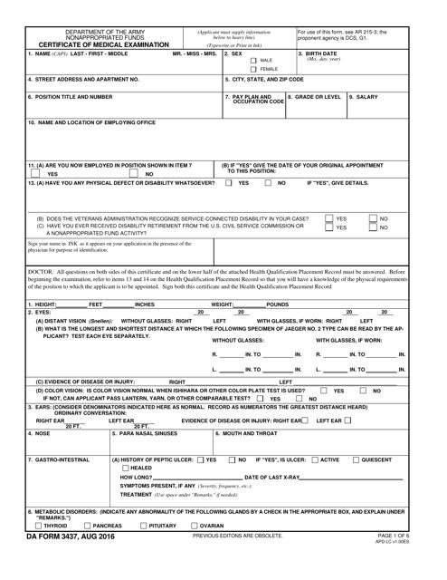 DA Form 3437  Printable Pdf