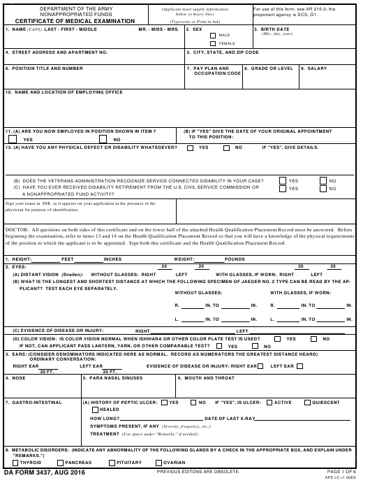 DA Form 3437 Fillable Pdf