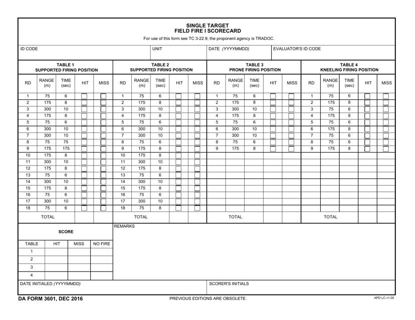 DA Form 3601  Printable Pdf