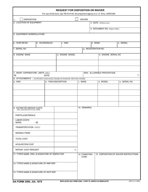 DA Form 3590 Fillable Pdf