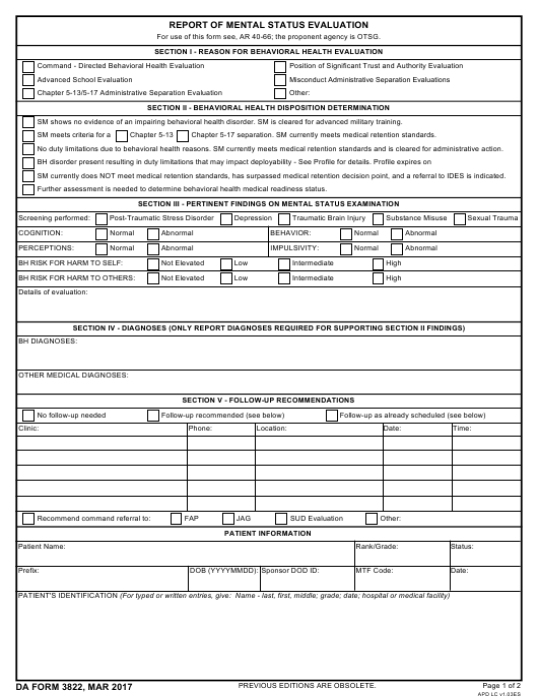 DA Form 3822 Fillable Pdf