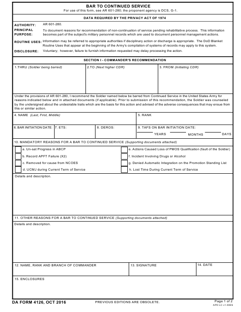 DA Form 4126 Fillable Pdf