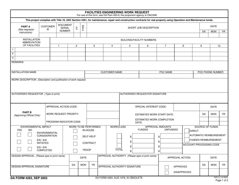 DA Form 4283  Fillable Pdf