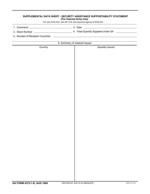 DA Form 4372-1-R  Fillable Pdf