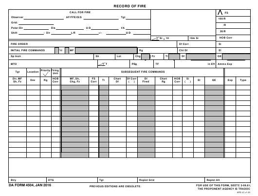 DA Form 4504 Fillable Pdf