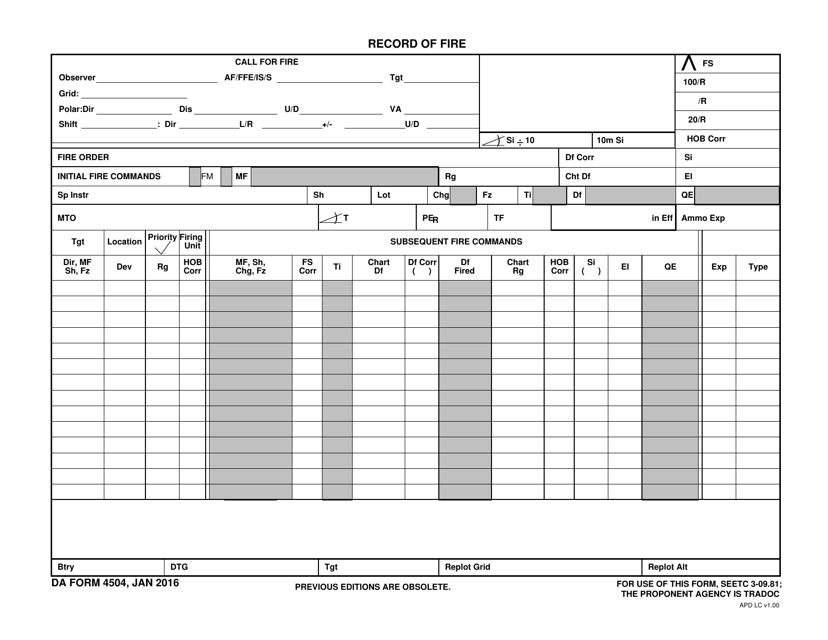DA Form 4504  Printable Pdf