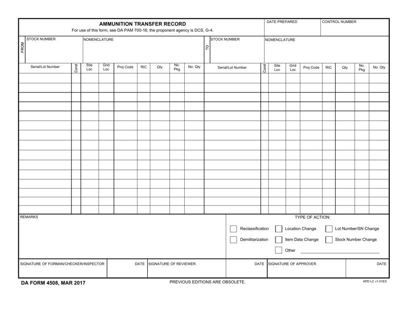DA Form 4508  Printable Pdf