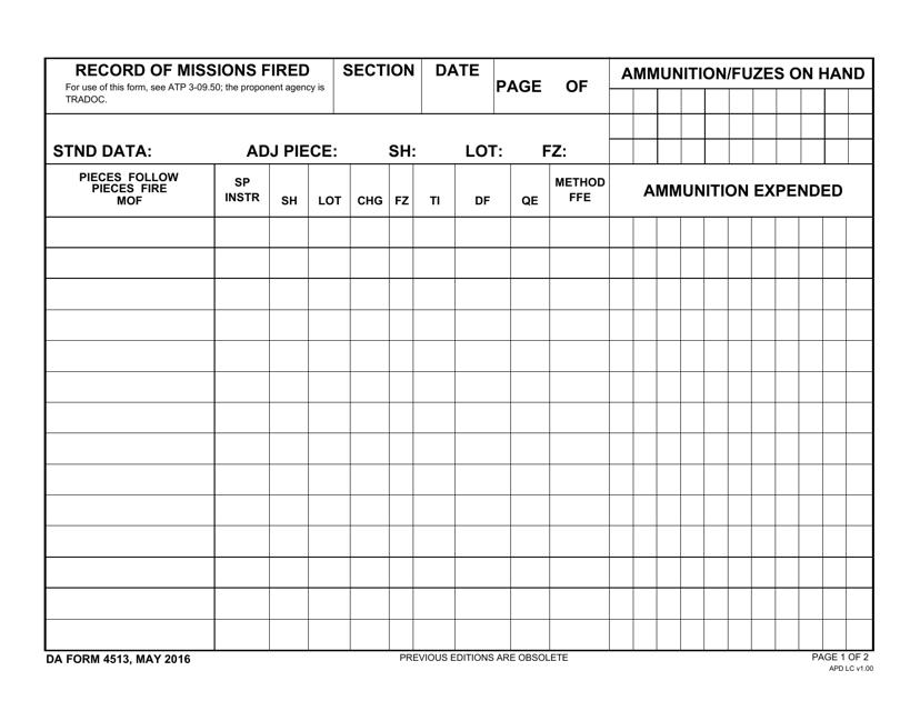 DA Form 4513 Fillable Pdf