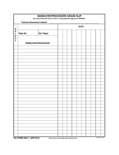 DA Form 4507-1 Fillable Pdf