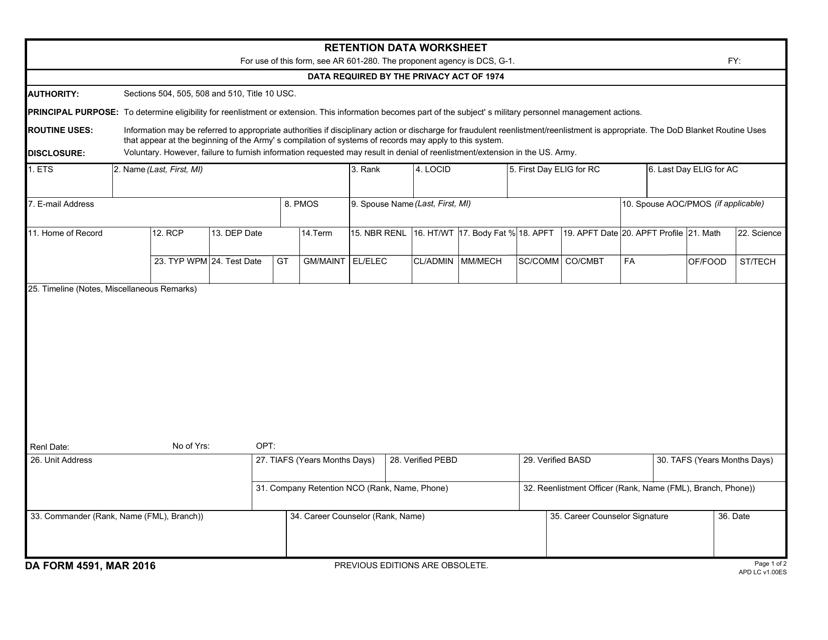 DA Form 4591 Fillable Pdf