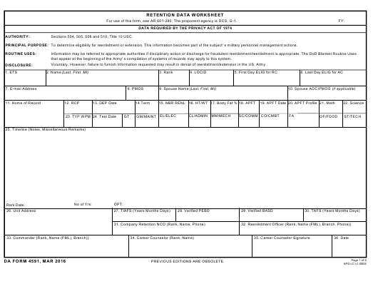 DA Form 4591 Fillable Pdf