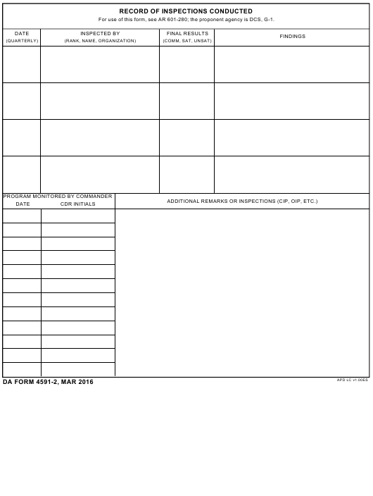 DA Form 4591-2 Fillable Pdf