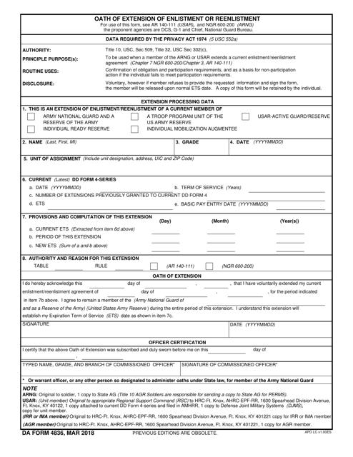DA Form 4836  Fillable Pdf
