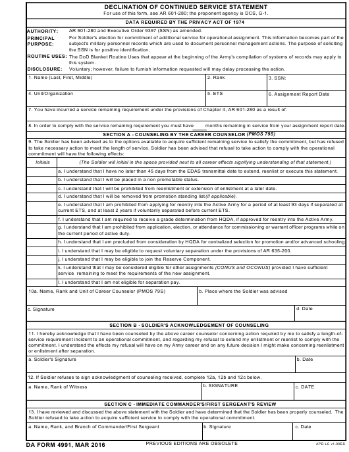 DA Form 4991  Fillable Pdf