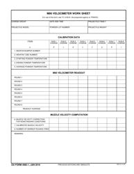 DA Form 4982-1 M90 Velocimeter Work Sheet