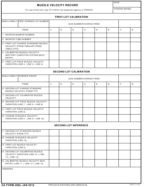 DA Form 4982 Fillable Pdf