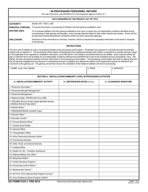 DA Form 5123-1 Fillable Pdf