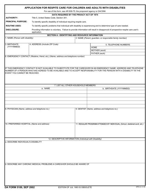 DA Form 5189 Fillable Pdf