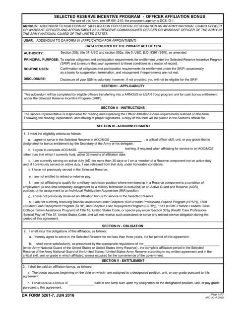DA Form 5261-7 Printable Pdf