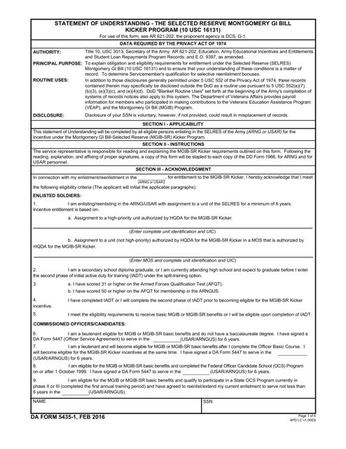 DA Form 5435-1 Fillable Pdf