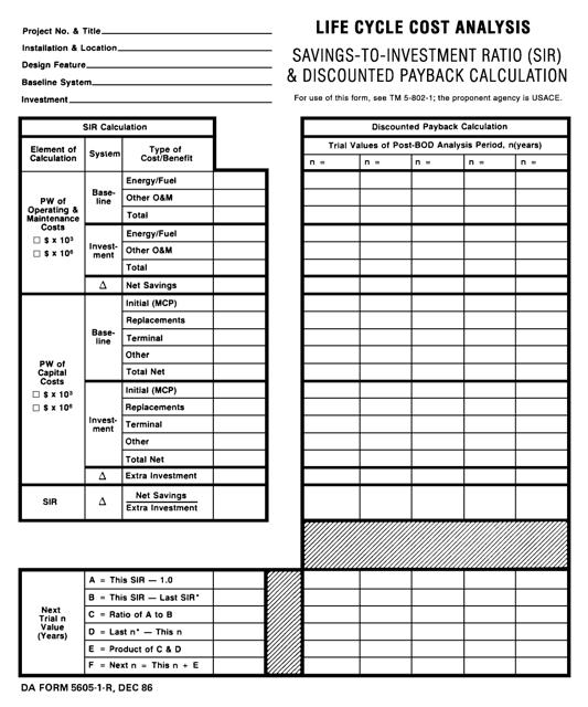 DA Form 5605-1-R  Printable Pdf