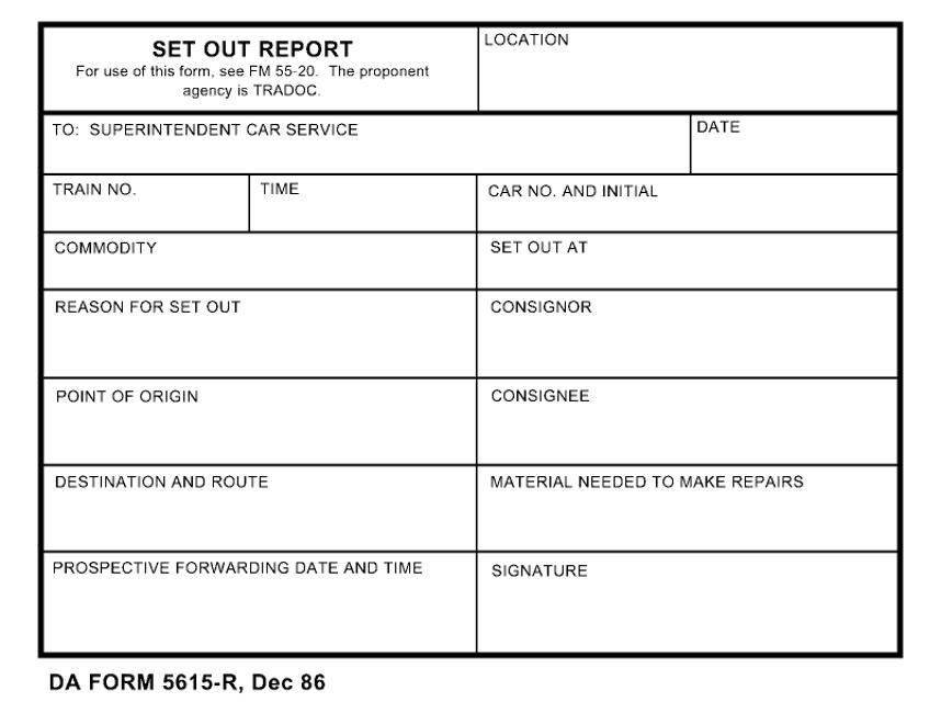DA Form 5615-R Fillable Pdf