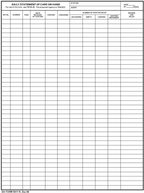 DA Form 5617-R Printable Pdf