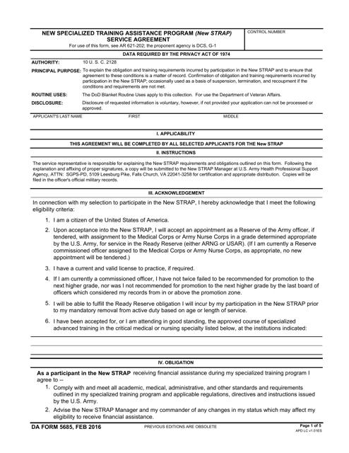 DA Form 5685 Printable Pdf