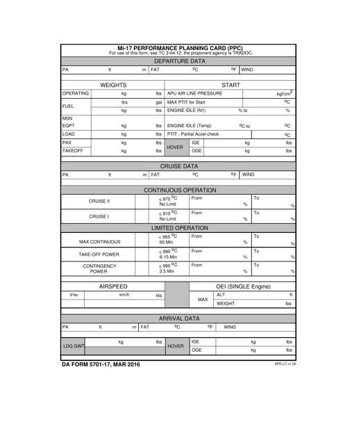 DA Form 5701-17  Fillable Pdf