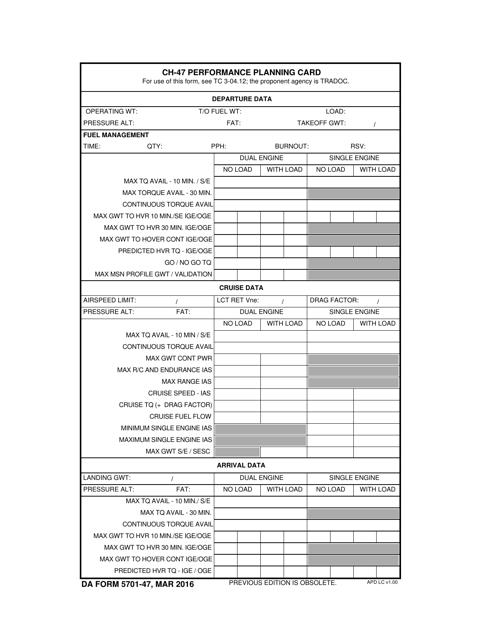 DA Form 5701-47 Fillable Pdf