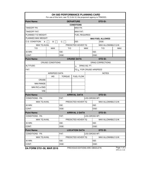 DA Form 5701-58  Fillable Pdf