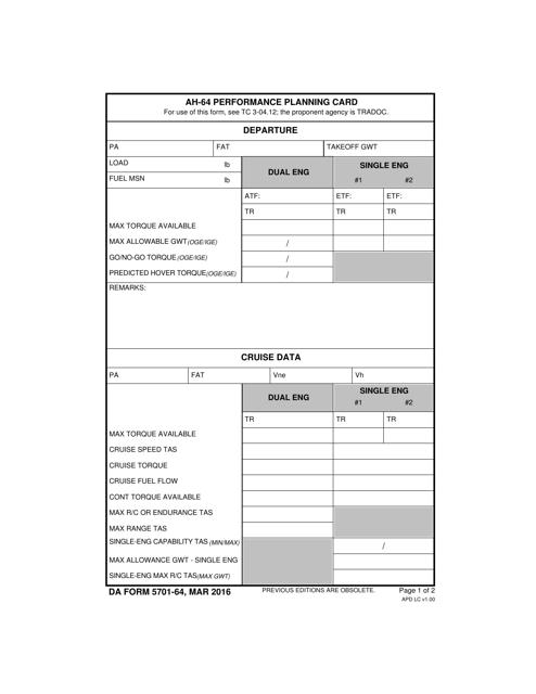 DA Form 5701-64 Fillable Pdf
