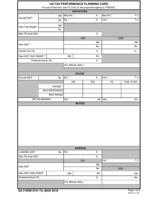 DA Form 5701-72  Fillable Pdf
