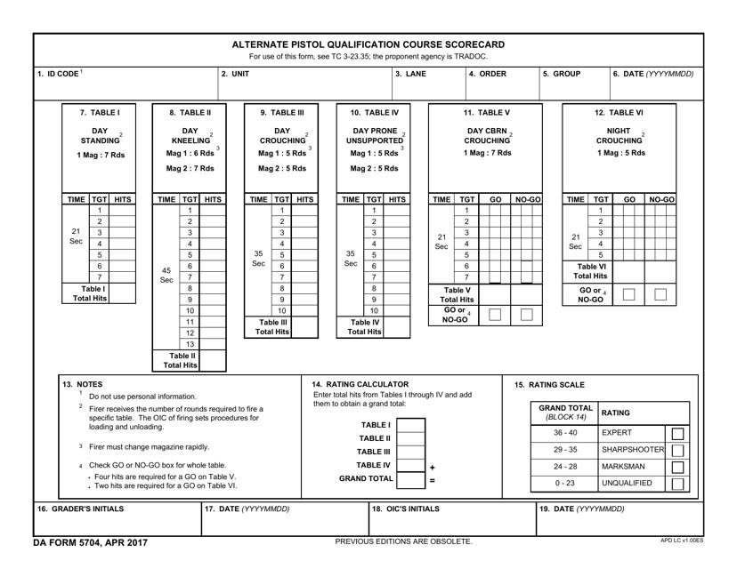 DA Form 5704  Printable Pdf